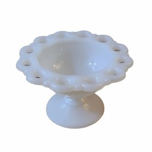 Anchor Hocking Lace Edge Milk Glass Candy Dish